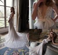 Wholesale inbal dror bridal dresses gowns mermaid resale online - Inbal Dror Luxury Mermaid Wedding Dresses V Neck Sequins Lace Sparkly Bridal Dress Bride Gowns Sexy Backless Party Wear