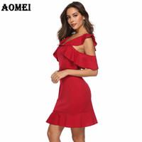 seksi kırmızı akşam yemeği elbisesi toptan satış-Seksi Akşam Kırmızı Elbise Kadınlar Bahar Akşam Partisi Ruffles Clubwear Backless Artı boyutu İnce Bayan Tunikler Şık Sıkı Mini Elbiseler