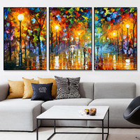 Wholesale pieces knife painting for sale - Group buy 3 piece canvas art abstract paintings acrylic wall decor cheap Modern paintings palette knife painting living room decoration