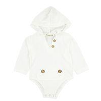 baby mädchen winter kapuzenjacke großhandel-Baby Strampler Kind Klettern Anzug Baby Mit Kapuze Overalls Langarm Junge Mädchen Milch Weiß Weste Knopf 32