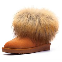 Wholesale leather low heel wedges resale online - Winter women s ankle boots winter womens fox fur wedges shoes in Australian style female Boots XDX