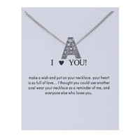 Wholesale free best friend necklaces resale online - 2019 Design Initial Letters Crystal Silver Necklace Women Sweater Chain Best Friends Gift Jewelry