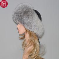 Wholesale fox bomber hats resale online - 2018 New Style Winter Russian Natural Real Fox Fur Hat Women Quality Real Fox Fur Bomber Hats Hot Real Genuine Fox Fur Cap D19011503