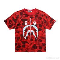saf pamuk gömlek erkek toptan satış-19SS Japon yeni erkek T Shirt köpekbalığı ağız baskılı saf pamuk sahte fermuar dişleri baskılı kamuflaj kısa kollu T gömlek yaz