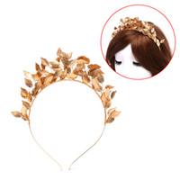 alın için mücevherat toptan satış-Gümüş Altın Metal Çelenkler Taçlar hairbands Düğün Headdress Gelin Yunan Forehead Saç Takı Barok Yaprak Saç Aksesuarları
