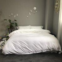 ingrosso set da letto d'argento viola-Di alta qualità Tencel set di biancheria da letto in seta 4 pezzi copripiumino solido set bianco argento blu viola lenzuolo montato regina re lino