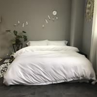 lila silberne bettwäsche gesetzt großhandel-Hochwertige Tencel Silk Bettwäschesatz 4pcs solide Bettbezug Set Weiß Silber Blau Lila Spannbettlaken Königin König Leinen