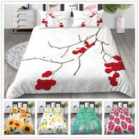 красноцветный одеяло покрывает полный оптовых-Набор постельных принадлежностей Flowers Series Элегантный набор красочных покрывал для одеял Twin Full Queen Size Желтый Красный Синий постельного белья