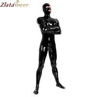 siyah lateks kauçuk erkekler toptan satış-Tam Kapak Siyah Lateks Catsuit Seksi Fetiş Erotik Kostümleri Adam için Bodysuit Kauçuk Artı Boyutu Tulum Özelleştirmek Hizmet