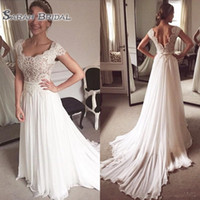 Wholesale wedding dresses scoop neckline lace online - Summer Beach Wedding Dress A Line Scoop Neckline Cap Sleeve Long Chiffon Bridal Gown Lace Bodice Sweep Train Marriage Gown
