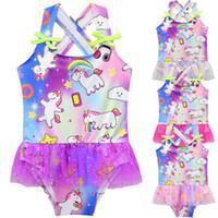 Wholesale girl tutu skirt baby toddler resale online - Girls Unicorn Swimwear Summer Paillette Toddler Baby Girls Tutu Unicorn Swimsuit Skirt One Piece Swimsuit Summer Swimwear CCA11442