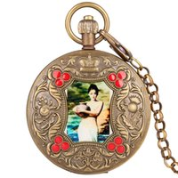 ingrosso immagini top per donne-Elegante immagine di arti retrò orologio da tasca meccanico tourbillon top lusso catena di rame puro orologio souvenir regali per le donne