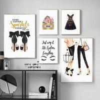 paris odası dekor toptan satış-Paris Moda Kız Yüksek Topuklu Etek Çanta Duvar Sanatı Tuval Boyama Nordic Posterler Baskılar Oturma Odası Dekor Için Duvar Resimleri
