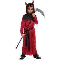 jungen rote robe groihandel-Kinder Kind Jungen Rot Schwarz Teufel-Dämon Robe Kostüm Halloween Purim Partei Karneval Fancy Cosplay Kostüme