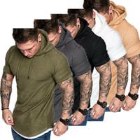 camisas ajustadas del músculo al por mayor-Camiseta ajustada de verano para hombre de 2019 para hombre Camiseta informal Tops Ropa con capucha Muscle Tee