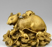 zodiac feng shui venda por atacado-Puro cobre rato do zodíaco ornamentos mouse sorte casa Feng Shui decorações sala de TV gabinete artesanato
