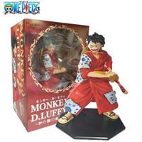 boneca vermelha japonesa venda por atacado-Anime ONE PIECE Monkey. D. Quimono Vermelho Luffy Figura Estilo Japonês Brinquedos Figurals Bonecos Modelo Collectible