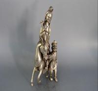 antikes weißes schlafzimmer großhandel-Heißer Verkauf Antique Pure White Kupfer Waren versilbert Zhaojun Reiten Bronze Ornamente Dekoration Geschenke Antike Sammlung