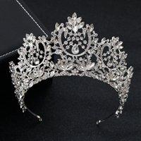 ingrosso corone rotonde per spose-Kmvexo New Vintage Luxury Big europea Sposa diademi Splendida cristallo grande rotondo regina corona accessori per capelli da sposa J190701