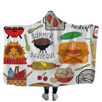 velo swaddle cobertores venda por atacado-Camping Cobertor Com Capuz 3D Impresso Fleece Throw Cobertores Adultos Crianças Macio Quente Sherpa Capes Viagem Piquenique Toalha Swaddling GGA2585