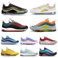 мужская мода черный галстук оптовых-Nike Air Max 97 97s Shoes Радужные мужские кроссовки All-Star Jersey Have Day Grape Metallic Pack Трехместный Белый Черный Женщины Спортивные спортивные кроссовки 36-45