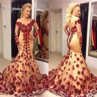 Wholesale fashion simple light luxury for sale - Group buy Luxury Mermaid Prom Dresses Jewel Neck Long Sleeve Appliques Formal Evening Gowns Plus Size Party Prom Gown