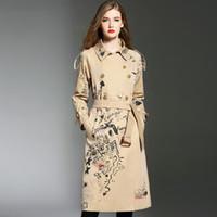 trench revestido duplo mama venda por atacado-Impressão das mulheres da moda Trench coat Primavera Outono inglaterra estilo double breasted blusão blusão casaco Chic senhora vento D498