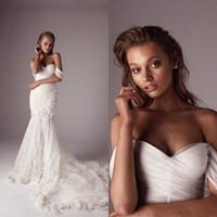 batas de playa al por mayor-Hombro vestidos de novia de sirena barrida tren vestido de novia de encaje floral 3D apliques con cuentas Beach por encargo Vestidos de boda de Boho 4571
