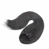 ingrosso yaki estensioni dei capelli sintetici-capelli sintetici capelli coda di cavallo clip in 24 pollici yaki capelli lisci 100g coulisse estensione dei capelli coda di cavallo per le donne nere