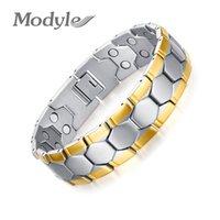 pulseiras para homens ouro equilíbrio venda por atacado-Pulseiras magnéticas Modyle Gold-Cor Men Bracelet Jóias Energia Saúde para o Homem do encanto Equilíbrio Pulseiras