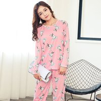 33c1a12b86 Women s Full Sleeve Shirt Pants Two-piece Pajama Sets 2018 Autumn Female  Sleepwear Lady Cartoon Print Homewears Pyjama Suits