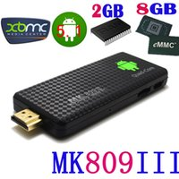 Wholesale android tv box online for sale - Group buy Mk809III TV box quad core mini computer HD playback G Android watch news go online RK3229 processor