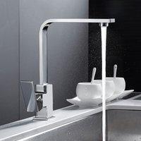 ingrosso ottone moderno rubinetto-Chrome piazza rubinetto della cucina moderna Filtro acqua Sink Mono Bloc monocomando calda e fredda rubinetto in ottone bocca girevole Miscelatore