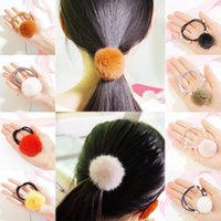 Wholesale fake fur accessories for sale - Group buy Sale Girls Cute Soft Fake Fur Ball Hair Rope Korean Style Pompom pearl Elastic Hair Band Accessories
