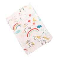 emmaillotage achat en gros de-Couverture de bébé en mousseline pour nouveau-né emmailloté Licorne Flamingo INS couverture en pellicule couverture couverture pellicule couverture couverture 120 * 100 cm