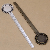 Wholesale diy jewelry trays for sale - Group buy alloy bookmarks creative stationery ruler charm with round oval plate tray DIY Jewelry Accessory Making findings