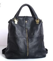 Wholesale first lady handbags for sale - Group buy New first layer cowhide leather fashion handbag black multi purpose ladies backpack bag hot