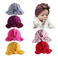 Wholesale new born photography props for sale - Group buy Baby Hat Cute Newborn Toddler Kids Baby Girl Indian Turban headdress bow rabbit ears Hat Cap New Born Photography props Hot Sale
