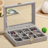 Wholesale glass ring display case for sale - Group buy 12 Grids Organizer Velvet Glass Jewelry Display Box Ring Organizer Case Tray Holder Earring Storage