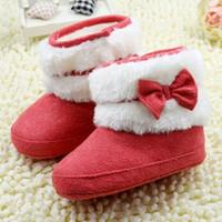 botas de inverno neve bebê menina vermelha venda por atacado-Bonito Recém-Nascido Infantil Baby Girl Bowknot Inverno Velo Crib EVA Botas de Neve Sapatos Rosa Vermelho