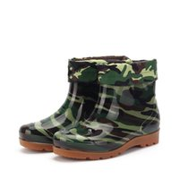 Wholesale elastic laces for shoes resale online - Camouflage Fashion New Rubber Boots for Women men Army Green Ankle Rain Boots Waterproof Four Seasons Boot Elastic Rainy Shoes