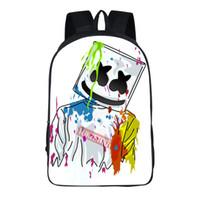les gars drôles achat en gros de-Marshmello Guy School Bag pour Adolescent Garçons et Filles Enfants Personnalisé Cartable Guimauve visage Sourire Hip-hop Drôle Sac À Dos