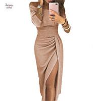 платье стиля русалки оптовых-Женщины 2015 Длинные платья рукава Sexy Pencil платье партии Разрез шеи Для женщин Plus Модели женской одежды Женская Дизайнерская одежда