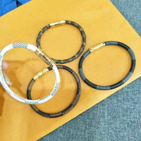 brazaletes de oro 18k de rubí al por mayor-4 colores de la marca de moda de joyería de acero inoxidable pulseras brazaletes pulseiras pulseras de cuero para mujeres / hombres regalo