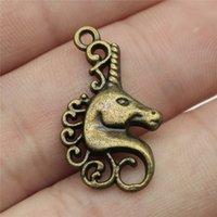 ingrosso cavallo di metallo antico-Charms 20pcs Lucky Horn Horse Bronzo antico Colore 1x0.6 pollici (26x15mm) Gioielli in lega di metallo Fai da te Accessori