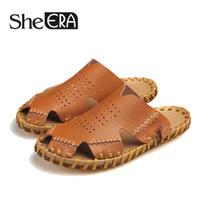 коричневые кожаные сандалии оптовых-2019 Genuine Leather Men Sandals Black Brown Sewing Beach Shoes Men Cool Summer Shoes Breathable Mens Leather Sandals size 38-44