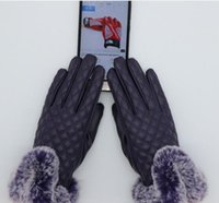wärmsten herrenhandschuhe großhandel-Winter im Freien warme Handschuhe Handschuh Frauen Männer Pelz Leder Five Fingers Handschuhe Solid Color Mitten Womens Mens Geschenk