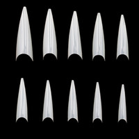 Wholesale pointy nails for sale - Group buy 500 Sizes Nail Art Tips Stiletto Pointy Full Cover False Nail Natural Style Acrylic UV Gel Fake Salon French Acrylic