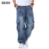 jeans großhandel-Neuer Japan-Art-Markemens gerade Denim-Cargo Pants Biker Jeans Men Baggy loser Blue Jeans mit Seitentaschen Plus Size 40 46