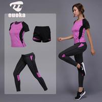 vêtements de jogging achat en gros de-2019 vêtements de sport pour femmes Yoga Set Fitness Gym Vêtements Running Shirt de Tennis + Pantalons Yoga Leggings Jogging Workout Sport Suit